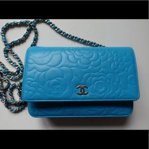 Chanel Turquoise Lambskin  wallet on chain
